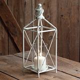 CTW Home Collection 'Farmhouse' Distressed-White-Metal Lantern