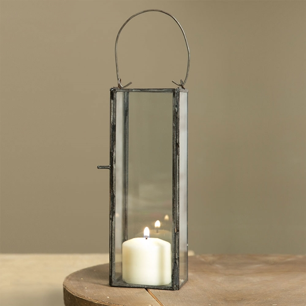 CTW Home Collection Thin Hayworth Metal and Glass Panels Lantern