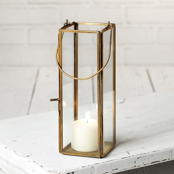 CTW Home Collection Thin Hayworth Antique Brass Metal & Glass Lantern
