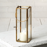 CTW Home Collection Thin Hayworth Antique Brass Metal & Glass Lantern