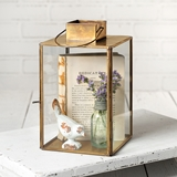 CTW Home Collection Large Hayworth Antique Brass Metal & Glass Lantern