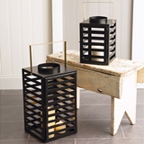 CTW Home Collection Set of Two Black Metal Lanterns with Gold Handles