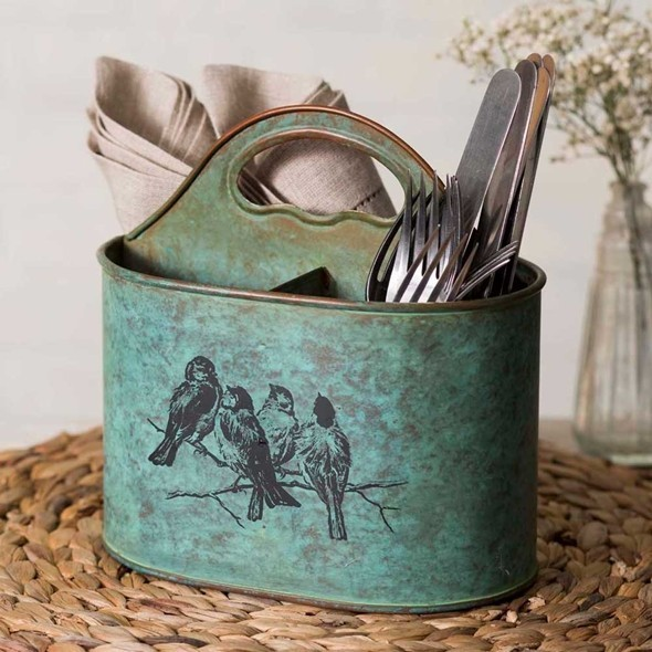 CTW Home Collection Vintage-Look Songbirds Motif Divided Caddy