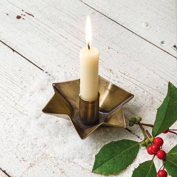 CTW Home Collection Star-Shaped Antique Brass Candle Holder (Box of 4)