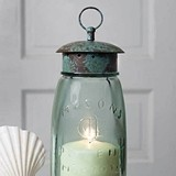 Glass Quart Mason Jar Lantern with Screw-On Metal Chimney with Loop