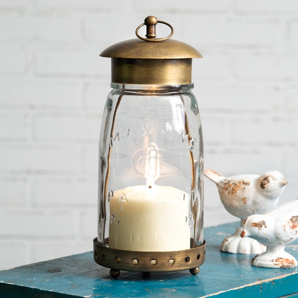 CTW Home Collection Antique Brass-Framed Glass Quart Mason Jar Lantern