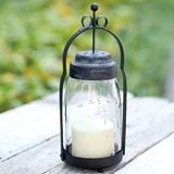 CTW Home Collection Quart Mason Jar Butler Lantern with Black Hardware