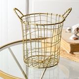 CTW Home Collection Tall Gold-Finish-Metal Wire Basket with 2 Handles