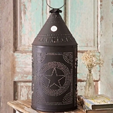 Two Foot Tall Star Motif Paul Revere Brown Punched-Tin Candle Lantern