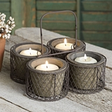 CTW Home Collection Wire Caddy with Small Four Terra Cotta Pots