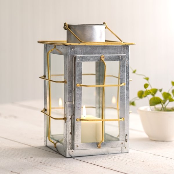CTW Home Collection Caged Galvanized Tin and Brass Trim Candle Lantern