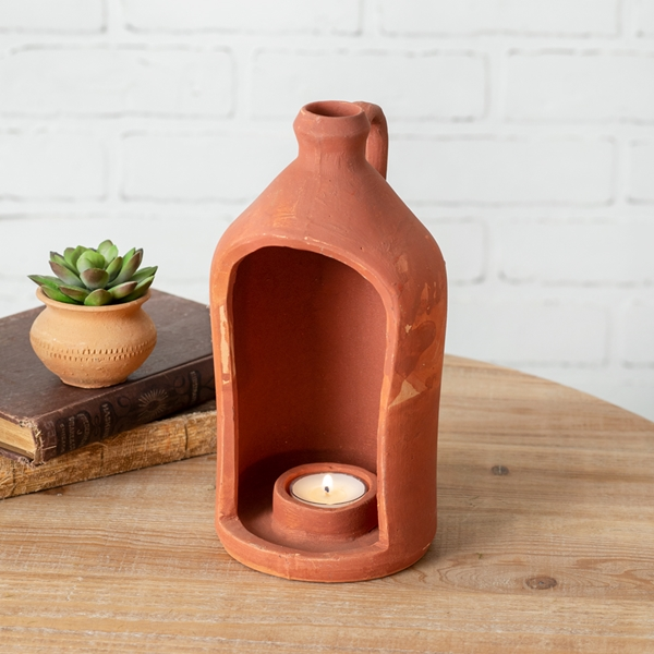 CTW Home Collection Large Jug-Shape Terra Cotta Tealight Candle Holder