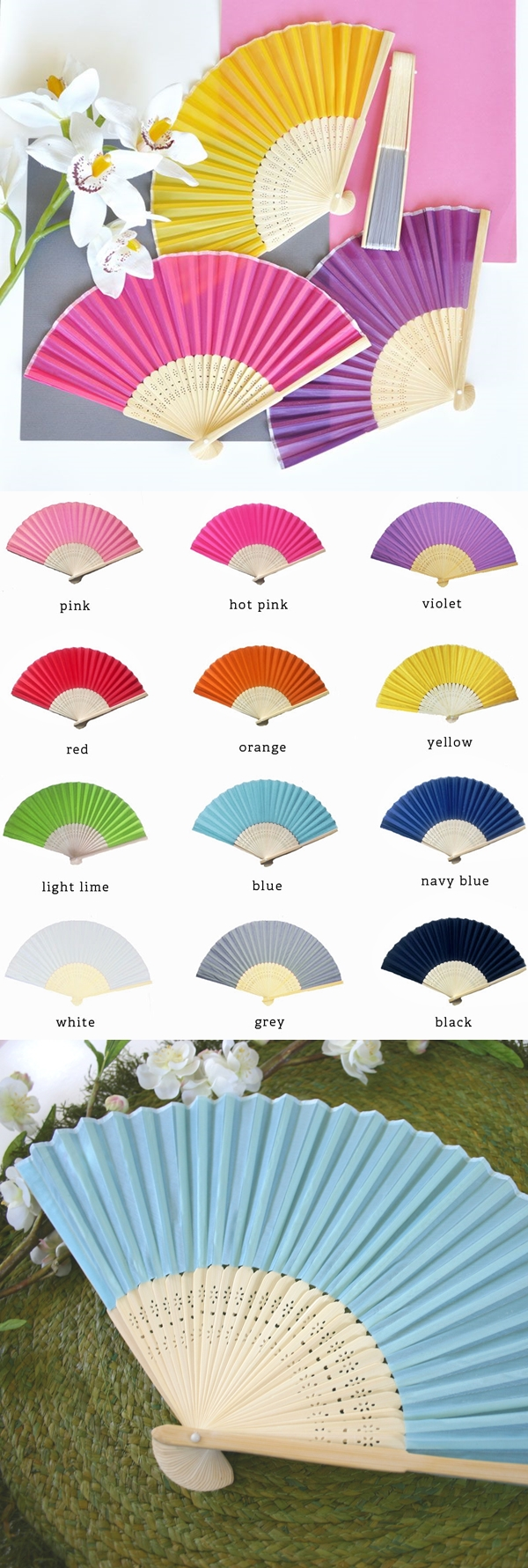 Vibrantly-Colored Silk Fans with Bamboo Stems (12 Colors)