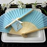 Brilliant Blue Silk Fan Summer or Spring Favor