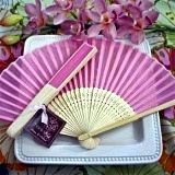 Feminine Pink Silk Fan Spring or Summer Wedding Favor