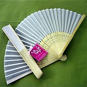 Beautiful White Silk Fan Summer or Spring Wedding Favor