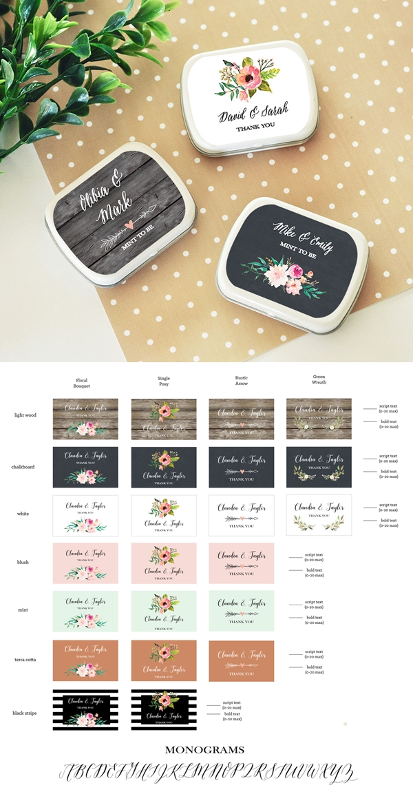 Event Blossom Personalized Floral Garden Mint Tins
