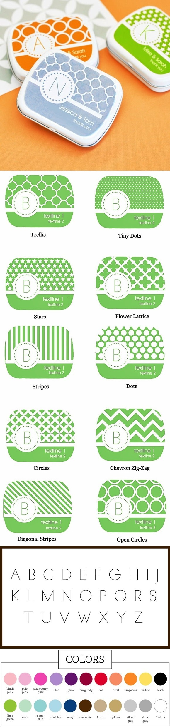 Colorful Mod-Patterned Monogrammed Mint Tins