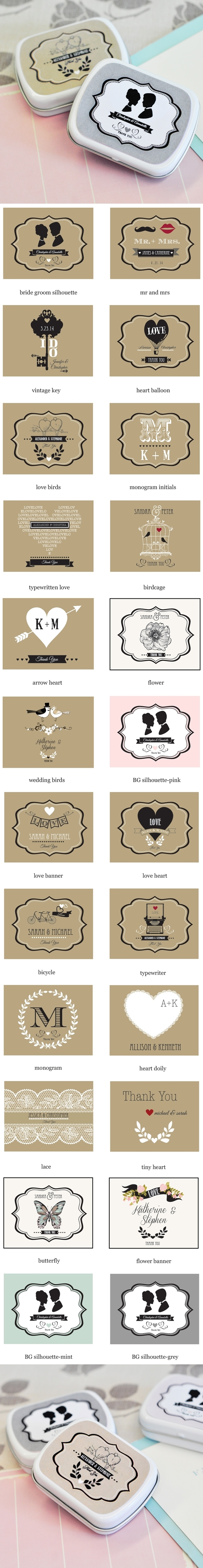Shabby Chic Personalized Mint Tins Wedding Favors | Personalized ...