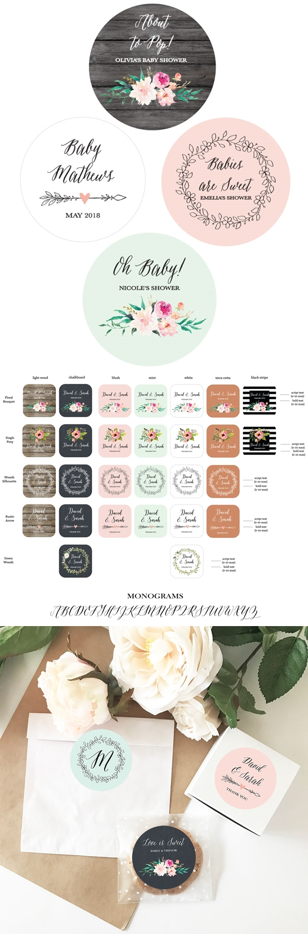 Event Blossom Personalized Floral Garden Round Labels