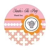Tea Party Personalized Round Labels