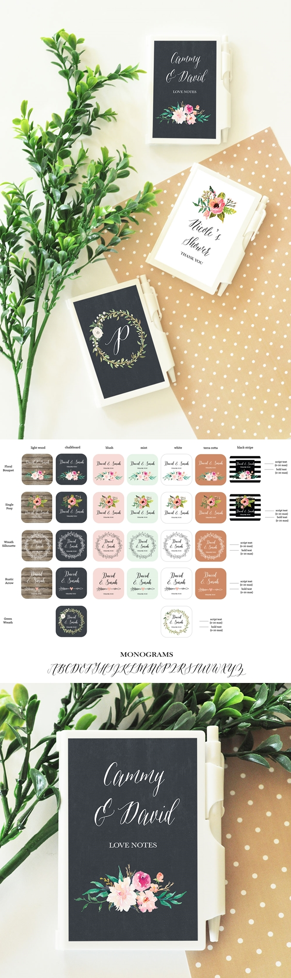Event Blossom Personalized Notebooks with Floral Garden Designs