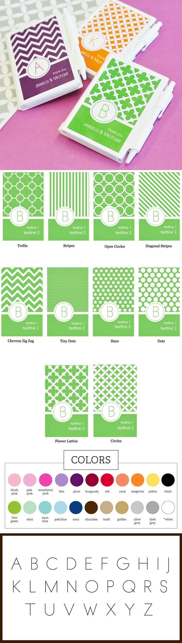MOD Pattern Monogram Personalized Notebooks Favors