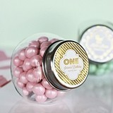 Personalized Metallic Foil Birthday Candy Jars