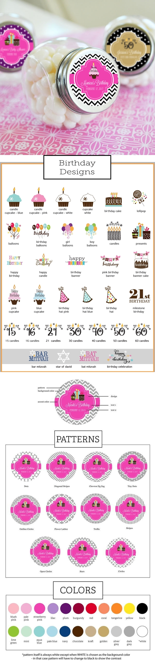 Event Blossom Personalized Birthday Candy Jars (34 Designs)