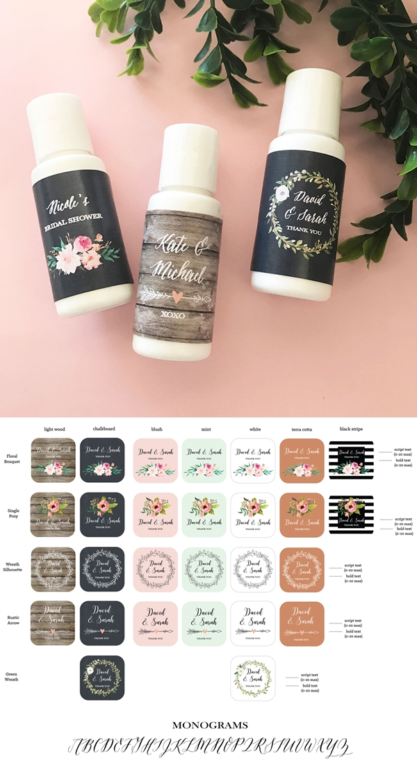 Event Blossom Personalized Floral Garden Sunscreen Bottles