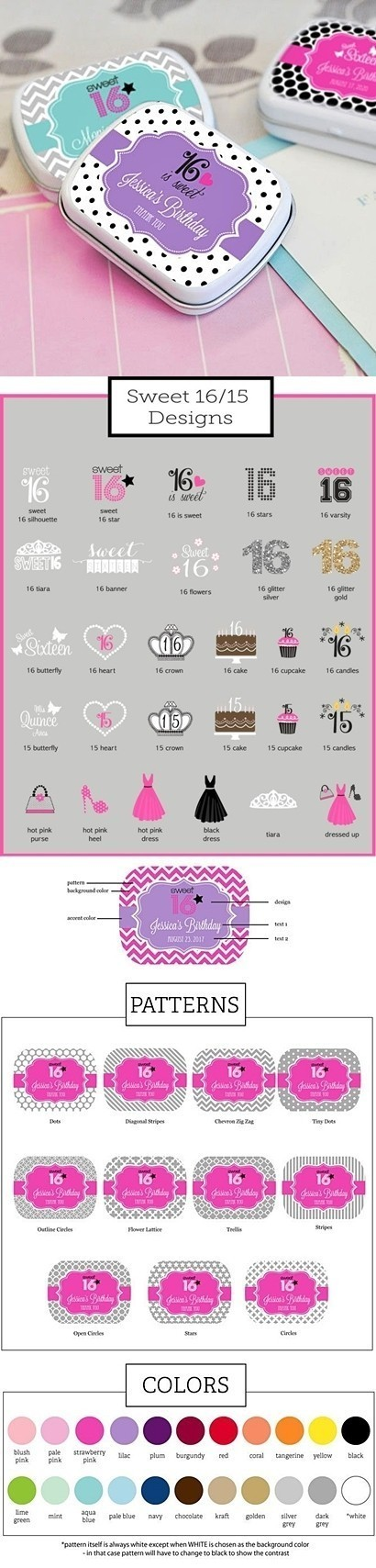 Cute Quinceañera/Sweet 16 Personalized Mint Tins