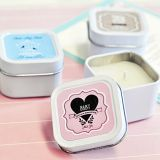 Vintage Personalized Baby Shower Square Candle Tins
