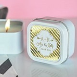Personalized Metallic Foil Square Candle Tins
