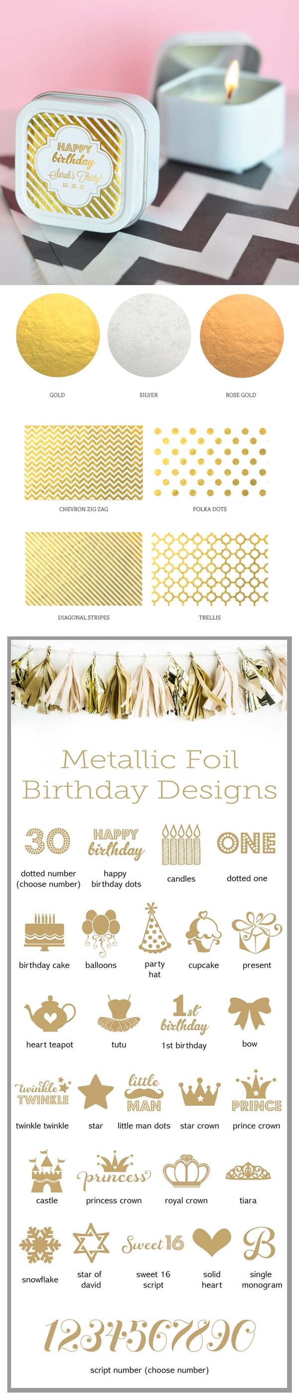 Personalized Metallic Foil Birthday Square Candle Tins