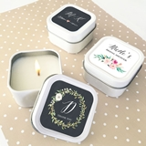 Event Blossom Personalized Floral Garden Square Candle Tins