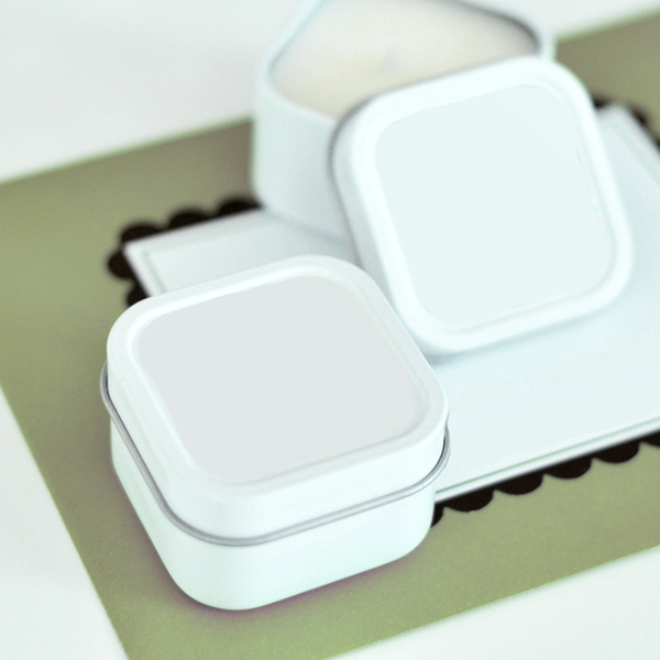 Event Blossom DIY Blank White-Colored Square Candle Tins