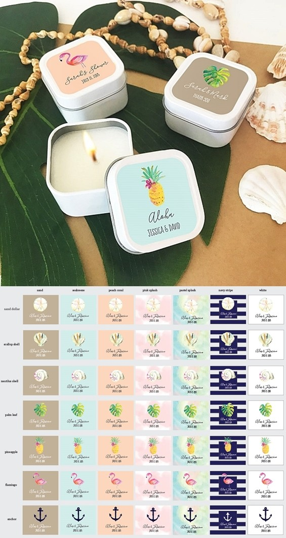 Event Blossom Personalized Tropical Beach White Square Candle Tins