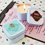 Cute Personalized Square Baby Shower Candle Tins