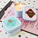 Event Blossom Cute Personalized Square Baby Shower Candle Tins