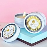 Personalized Metallic Foil Round Candle Tins
