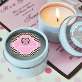 Adorable Baby Shower Personalized Round Travel-Sized Candle Tins