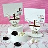 Baby Carriage-Shaped Wooden Favor Boxes/Placecard Holders (Set of 12)