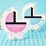 Personalized Baby Carriage-Shaped Clear Favor Boxes