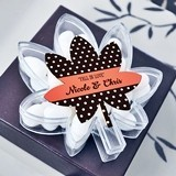 Personalized Falling For You Leaf-Shaped Clear Favor Boxes