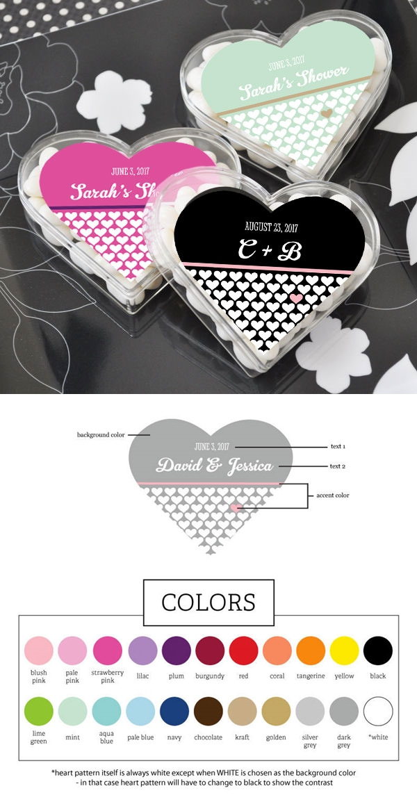 Charming Personalized Heart-Shaped Clear Favor Boxes