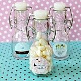 Personalized Miniature Glass Bottles with Artistic Baby Shower Design