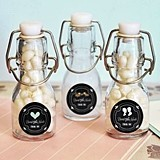 Chalkboard Wedding Personalized Mini Glass Swing-Top Bottles