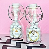Personalized Metallic Foil Mini Glass Swing-Top Bottles
