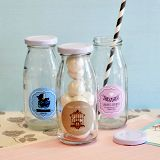 Vintage Personalized Baby Shower Mini Milk Bottles