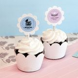 Vintage Design Baby Shower Cupcake Wraps and Toppers (Set of 24)